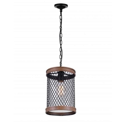 """14"""" 1 Light Drum Shade Mini Chandelier with Black finish"""