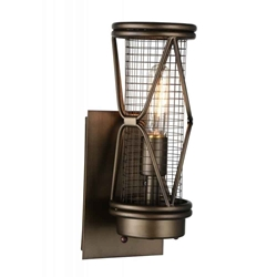 """14"""" 1 Light Wall Sconce with Light Brown finish"""