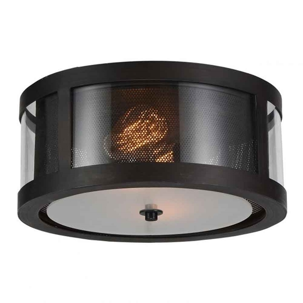 "Picture of 14"" 2 Light Cage Flush Mount with Reddish Brown finish"