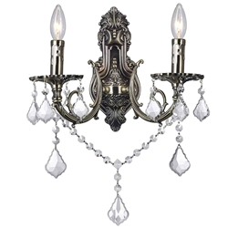 """14"""" 2 Light Wall Sconce with Antique Brass finish"""