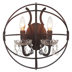 """14"""" 2 Light Wall Sconce with Brown finish"""