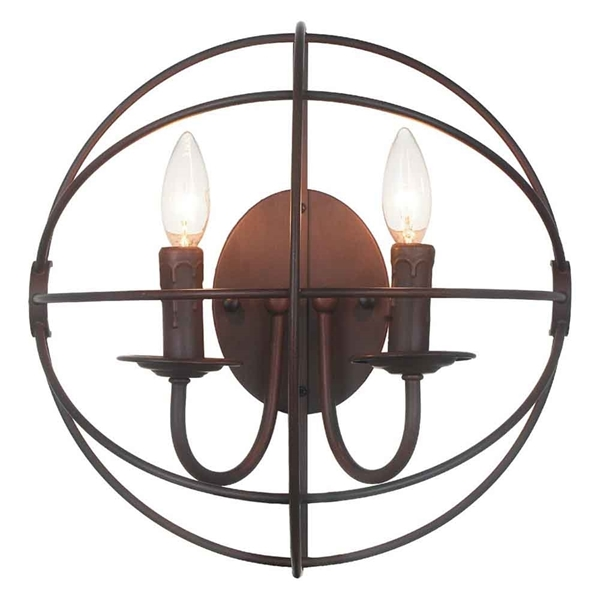 """Picture of 14"""" 2 Light Wall Sconce with Brown finish"""