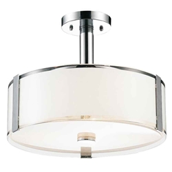 """14"""" 3 Light Drum Shade Chandelier with Chrome finish"""