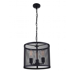 "14"" 3 Light Drum Shade Pendant with Reddish Black finish"