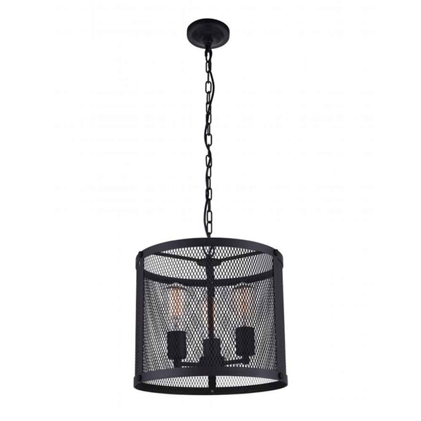 "Picture of 14"" 3 Light Drum Shade Pendant with Reddish Black finish"