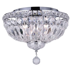 "14"" 4 Light Bowl Flush Mount with Chrome finish"