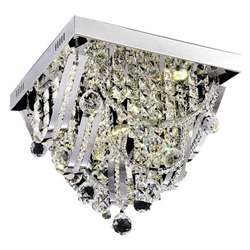 "14"" 5 Light  Flush Mount with Chrome finish"
