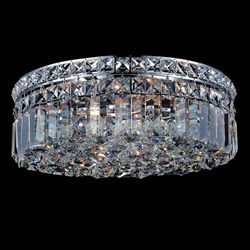 "14"" Bossolo Transitional Crystal Round Flush Mount Chandelier Polished Chrome 4 Lights"