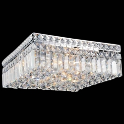 "14"" Bossolo Transitional Crystal Square Flush Mount Chandelier Polished Chrome 4 Lights"