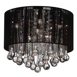 "14"" Gocce Modern Crystal Round Flush Mount Ceiling Lamp Polished Chrome Black String Shade 6 Lights"