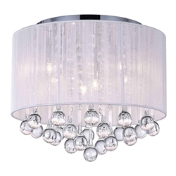 "14"" Gocce Modern Crystal Round Flush Mount Ceiling Lamp Polished Chrome White String Shade 6 Lights"
