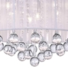 "Picture of 14"" Gocce Modern Crystal Round Flush Mount Ceiling Lamp Polished Chrome White String Shade 6 Lights"