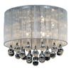 "Picture of 14"" Gocce Modern Crystal Round Flush Mount Ceiling Lamp Polished Chrome Silver String Shade 6 Lights"
