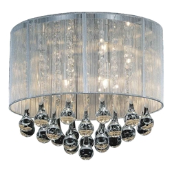 "14"" Gocce Modern Crystal Round Flush Mount Ceiling Lamp Polished Chrome Silver String Shade 6 Lights"