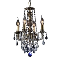 "14"" Imperatore Traditional Crystal Candle Round Chandelier Antique Brass 4 Lights"