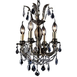 "14"" Imperatore Traditional Crystal Candle Round Chandelier Antique Brass 4 Lights."