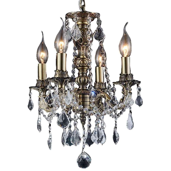 """Picture of 14"""" Imperatore Traditional Crystal Candle Round Chandelier Antique Brass 4.Lights"""
