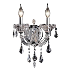 "14"" Maria Theresa Traditional Crystal Wall Sconce Polished Chrome 2 Lights"