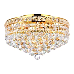 "14"" Primo Transitional Round Crystal Flush Mount Ceiling Chandelier Gold Plated 4 Lights"