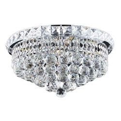 "14"" Primo Transitional Round Crystal Flush Mount Ceiling Chandelier Polished Chrome 4 Lights"