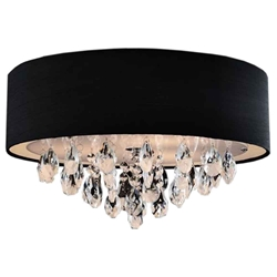 "14"" Struttura Modern Crystal Round Flush Mount Double Shade Black Fabric 3 Lights"