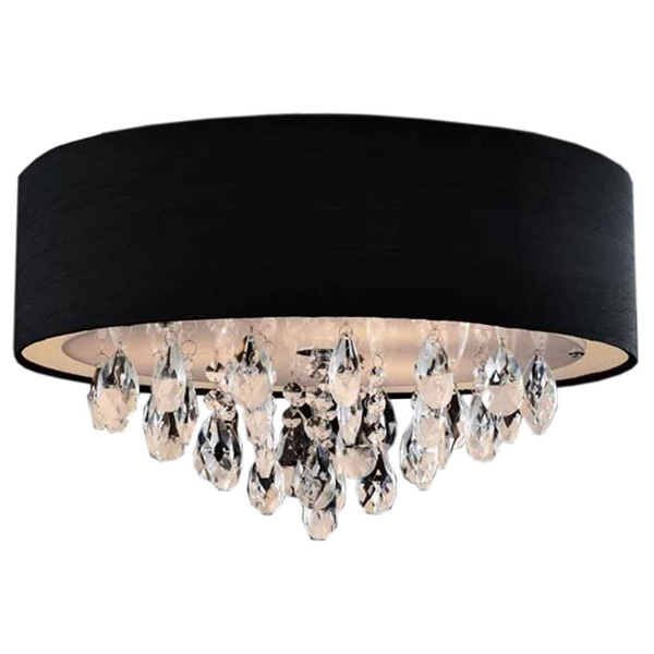 "Picture of 14"" Struttura Modern Crystal Round Flush Mount Double Shade Black Fabric 3 Lights"