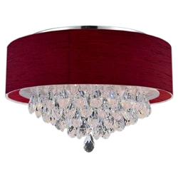 "14"" Struttura Modern Crystal Round Flush Mount Double Wine Red Fabric 3 Lights"