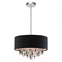 "14"" Struttura Modern Crystal Round Pendant Double Shade Black Fabric 3 Lights"