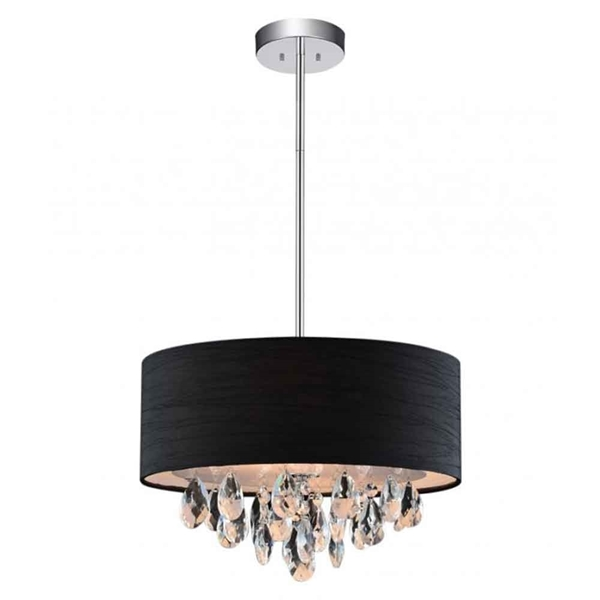 "Picture of 14"" Struttura Modern Crystal Round Pendant Double Shade Black Fabric 3 Lights"