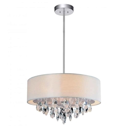 "14"" Struttura Modern Crystal Round Pendant Double Shade Offwhite Fabric 3 Lights"