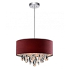 "Picture of 14"" Struttura Modern Crystal Round Pendant Double Shade Wine Red Fabric 3 Lights"