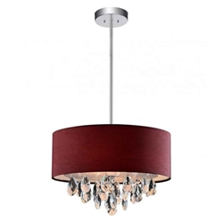 "14"" Struttura Modern Crystal Round Pendant Double Shade Wine Red Fabric 3 Lights"