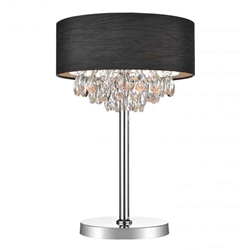 "14"" Struttura Modern Crystal Round Table Lamp Double Shade Black Fabric 3 Lights"