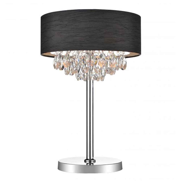 """Picture of 14"""" Struttura Modern Crystal Round Table Lamp Double Shade Black Fabric 3 Lights"""