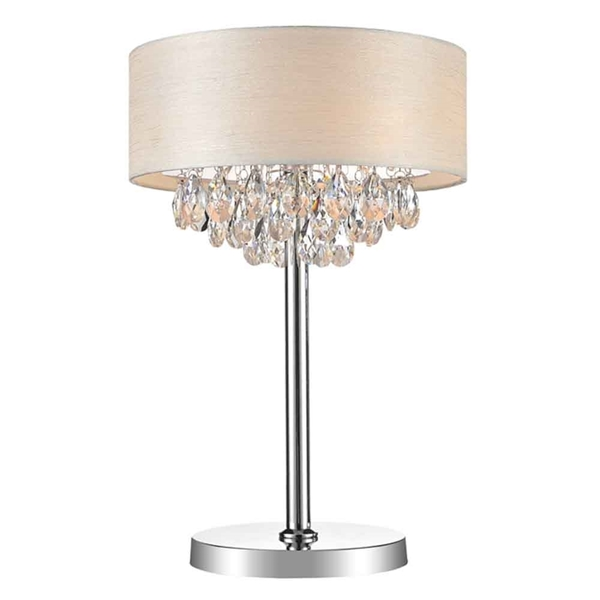 "Picture of 14"" Struttura Modern Crystal Round Table Lamp Double Shade Offwhite Fabric 3 Lights"