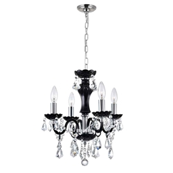 "14"" Victorian Traditional Crystal Round Mini Chandelier Clear Crystals Jet Black Frame 4 Lights"