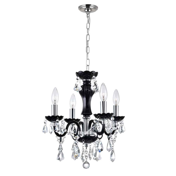 "Picture of 14"" Victorian Traditional Crystal Round Mini Chandelier Clear Crystals Jet Black Frame 4 Lights"