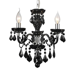 "14"" Victorian Traditional Crystal Round Mini Chandelier Jet Black Leaf Crystals 3 Lights"