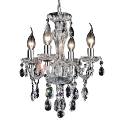 "14"" Victorian Traditional Crystal Round Mini Chandelier Polished Chrome 4 Lights"