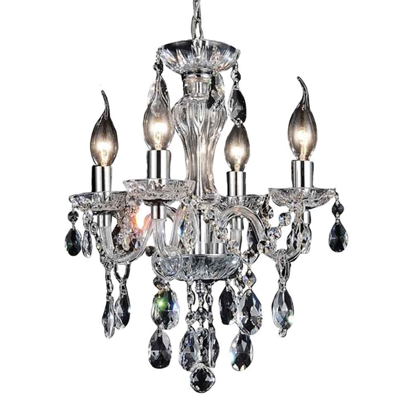 """Picture of 14"""" Victorian Traditional Crystal Round Mini Chandelier Polished Chrome 4 Lights"""