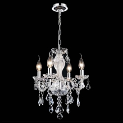 """14"""" Victorian Traditional Crystal Round Mini Chandelier Polished Chrome Leaf 4 Lights"""