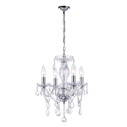 "14"" Victorian Traditional Crystal Round Mini Chandelier Polished Chrome New Leaf 4 Lights"
