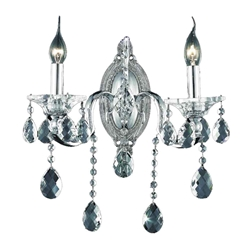 "14"" Vittoria Traditional Crystal Candle Wall Sconce Polished Chrome 2 Lights"