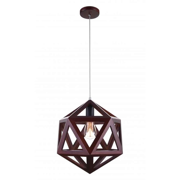 "Picture of 15"" 1 Light  Pendant with Black & Wood finish"