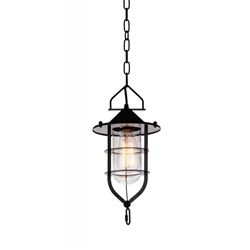 "15"" 1 Light Down Mini Pendant with Black finish"