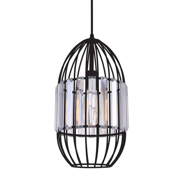 """Picture of 15"""" 1 Light Down Mini Pendant with Black finish"""