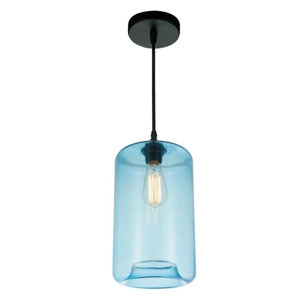 "Picture of 15"" 1 Light Down Mini Pendant with Transparent Blue finish"