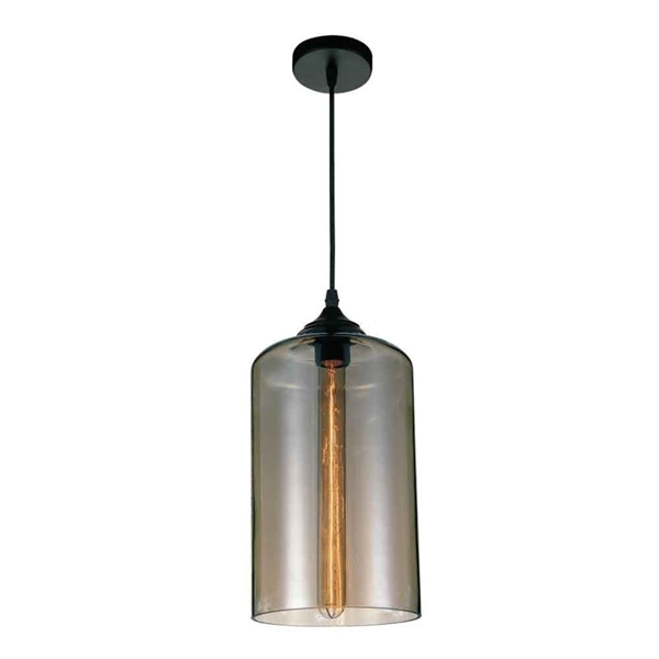 "Picture of 15"" 1 Light Down Mini Pendant with Transparent Smoke finish"