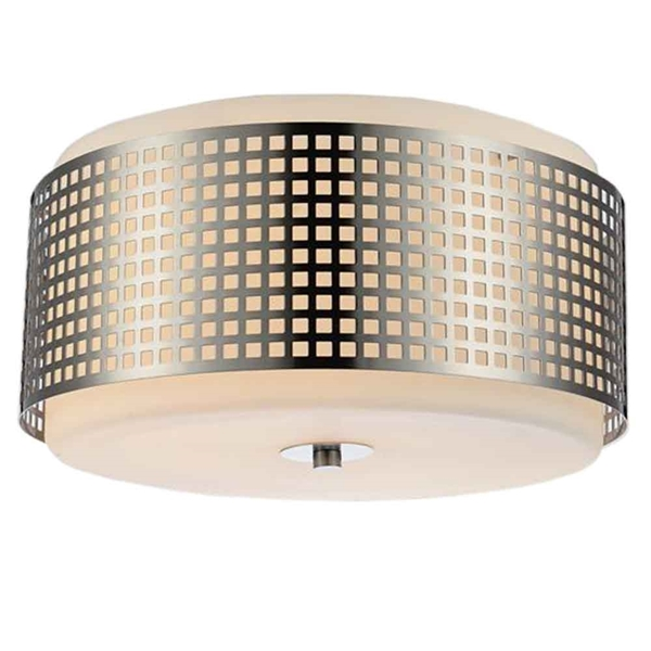 "Picture of 15"" 2 Light Drum Shade Flush Mount with Satin Nickel finish"