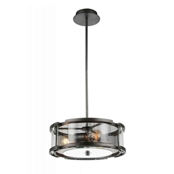 "15"" 3 Light  Chandelier with Black Silver finish"